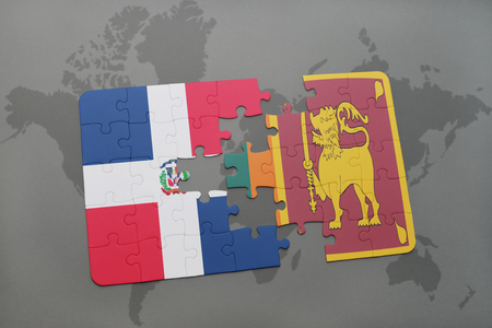 puzzle with the national flag of dominican republic and sri lanka on a world map background. 3D illustration