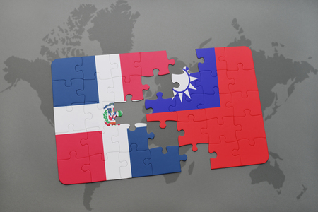puzzle with the national flag of dominican republic and taiwan on a world map background. 3D illustration