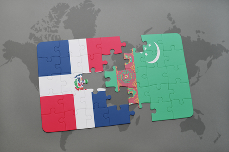 puzzle with the national flag of dominican republic and turkmenistan on a world map background. 3D illustration