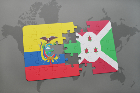 puzzle with the national flag of ecuador and burundi on a world map background. 3D illustration Stock Photo