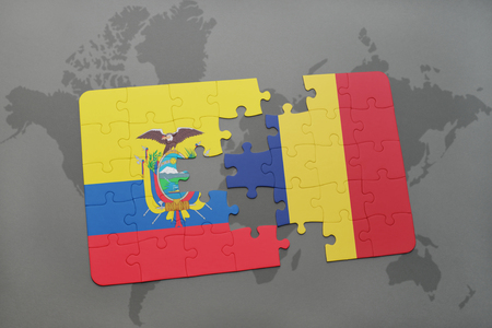 puzzle with the national flag of ecuador and chad on a world map background. 3D illustration Stock Photo