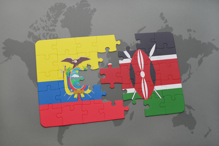 puzzle with the national flag of ecuador and kenya on a world map background. 3D illustration Stock Photo
