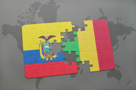 puzzle with the national flag of ecuador and mali on a world map background. 3D illustration Stock Photo