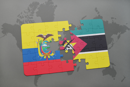 puzzle with the national flag of ecuador and mozambique on a world map background. 3D illustration