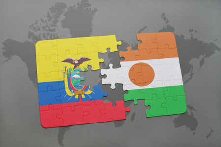 puzzle with the national flag of ecuador and niger on a world map background. 3D illustration