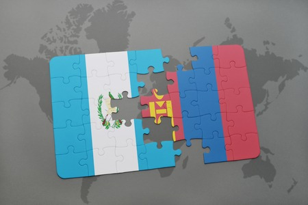 puzzle with the national flag of guatemala and mongolia on a world map background. 3D illustration