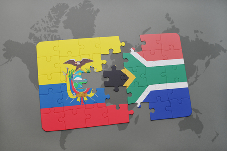 puzzle with the national flag of ecuador and south africa on a world map background. 3D illustration