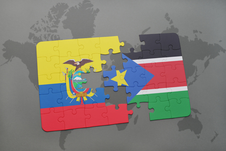 puzzle with the national flag of ecuador and south sudan on a world map background. 3D illustration
