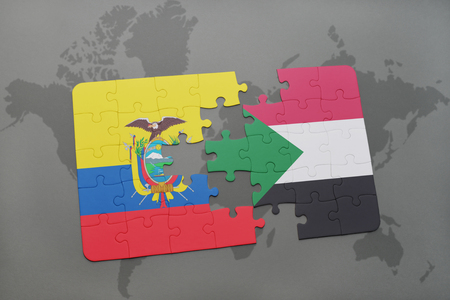 puzzle with the national flag of ecuador and sudan on a world map background. 3D illustration