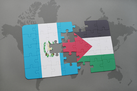 puzzle with the national flag of guatemala and palestine on a world map background. 3D illustration