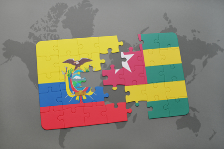 puzzle with the national flag of ecuador and togo on a world map background. 3D illustration