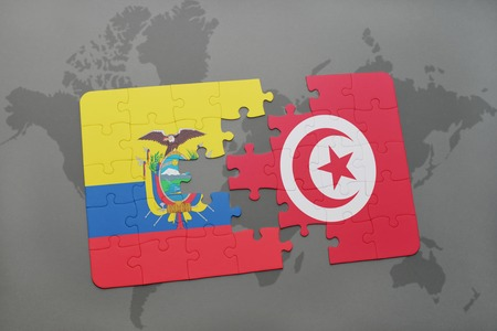 puzzle with the national flag of ecuador and tunisia on a world map background. 3D illustration Stock Photo
