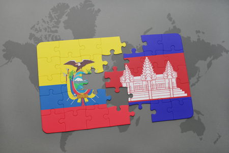 cambodian: puzzle with the national flag of ecuador and cambodia on a world map background. 3D illustration Stock Photo