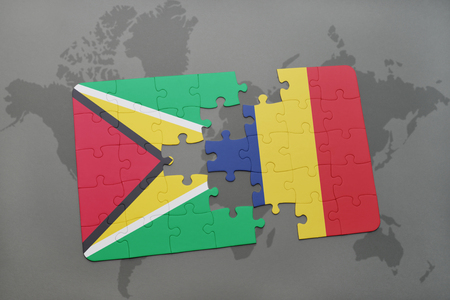 puzzle with the national flag of guyana and chad on a world map background. 3D illustration