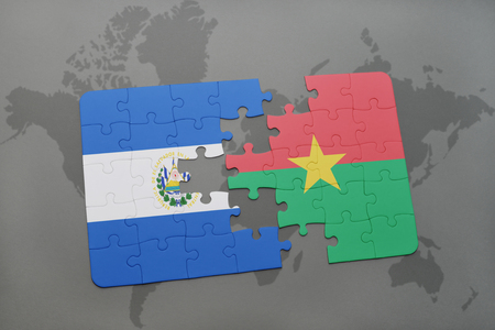 puzzle with the national flag of el salvador and burkina faso on a world map background. 3D illustration