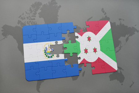 puzzle with the national flag of el salvador and burundi on a world map background. 3D illustration