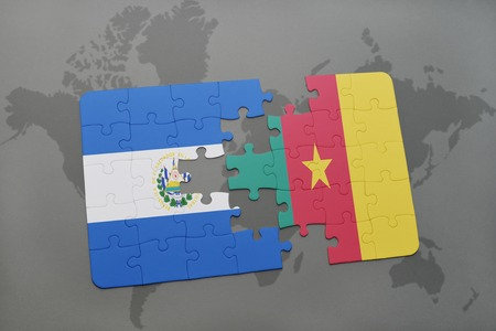 puzzle with the national flag of el salvador and cameroon on a world map background. 3D illustration
