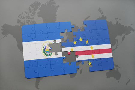 praia: puzzle with the national flag of el salvador and cape verde on a world map background. 3D illustration