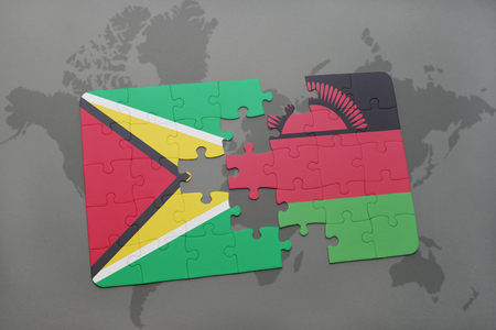 puzzle with the national flag of guyana and malawi on a world map background. 3D illustration