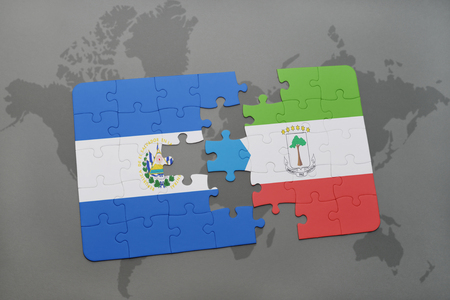puzzle with the national flag of el salvador and equatorial guinea on a world map background. 3D illustration