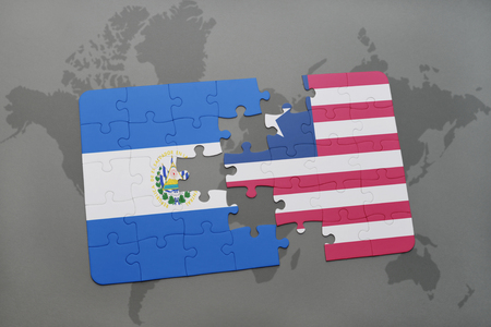 puzzle with the national flag of el salvador and liberia on a world map background. 3D illustration Stock Photo