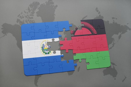 puzzle with the national flag of el salvador and malawi on a world map background. 3D illustration
