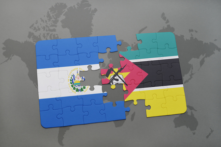 puzzle with the national flag of el salvador and mozambique on a world map background. 3D illustration Stock Photo