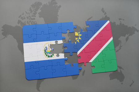 puzzle with the national flag of el salvador and namibia on a world map background. 3D illustration