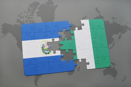 puzzle with the national flag of el salvador and nigeria on a world map background. 3D illustration