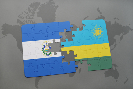 puzzle with the national flag of el salvador and rwanda on a world map background. 3D illustration