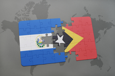 puzzle with the national flag of el salvador and east timor on a world map background. 3D illustration
