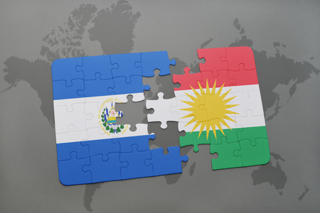 puzzle with the national flag of el salvador and kurdistan on a world map background. 3D illustration Stock Photo