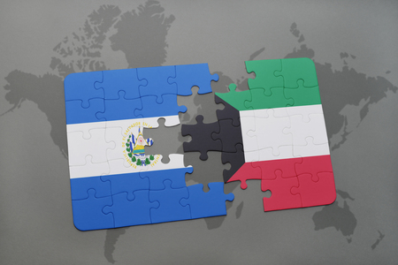 puzzle with the national flag of el salvador and kuwait on a world map background. 3D illustration Stock Photo