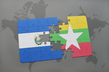puzzle with the national flag of el salvador and myanmar on a world map background. 3D illustration Stock Photo