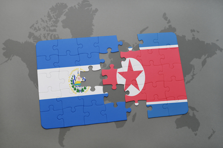 puzzle with the national flag of el salvador and north korea on a world map background. 3D illustration