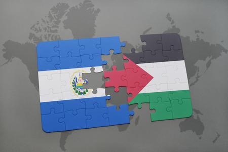 puzzle with the national flag of el salvador and palestine on a world map background. 3D illustration Stock Photo