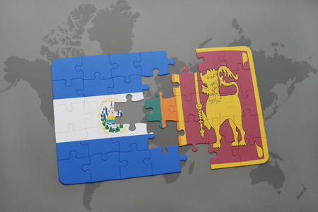 ceylon: puzzle with the national flag of el salvador and sri lanka on a world map background. 3D illustration Stock Photo