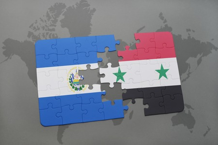 puzzle with the national flag of el salvador and syria on a world map background. 3D illustration Stock Photo