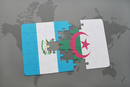 puzzle with the national flag of guatemala and algeria on a world map background. 3D illustration