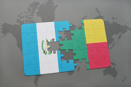 puzzle with the national flag of guatemala and benin on a world map background. 3D illustration