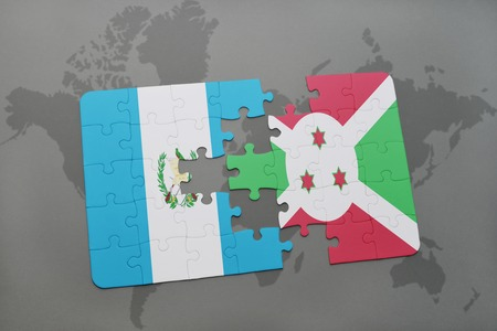 puzzle with the national flag of guatemala and burundi on a world map background. 3D illustration