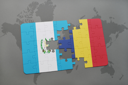 puzzle with the national flag of guatemala and chad on a world map background. 3D illustration