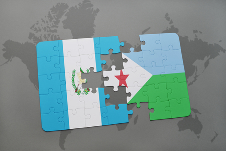 puzzle with the national flag of guatemala and djibouti on a world map background. 3D illustration