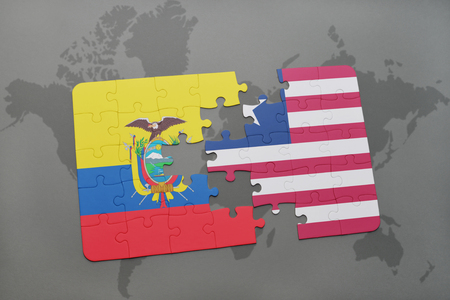 puzzle with the national flag of ecuador and liberia on a world map background. 3D illustration Stock Photo