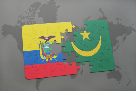 puzzle with the national flag of ecuador and mauritania on a world map background. 3D illustration Stock Photo