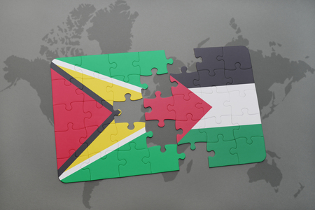 puzzle with the national flag of guyana and palestine on a world map background. 3D illustration Stock Photo