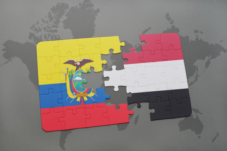 puzzle with the national flag of ecuador and yemen on a world map background. 3D illustration