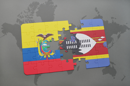puzzle with the national flag of ecuador and swaziland on a world map background. 3D illustration