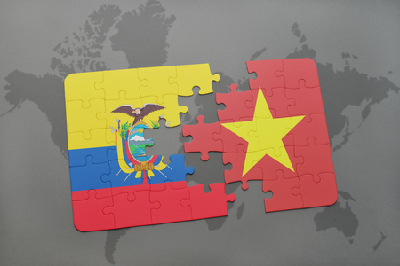 puzzle with the national flag of ecuador and vietnam on a world map background. 3D illustration
