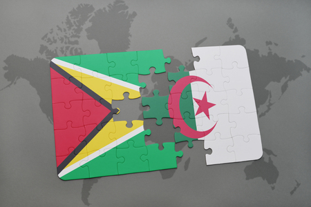 guyanese: puzzle with the national flag of guyana and algeria on a world map background. 3D illustration